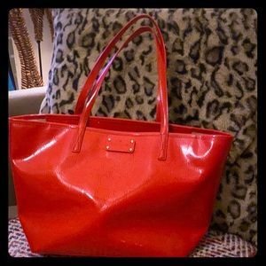 Kate Spade red patten leather tote bag